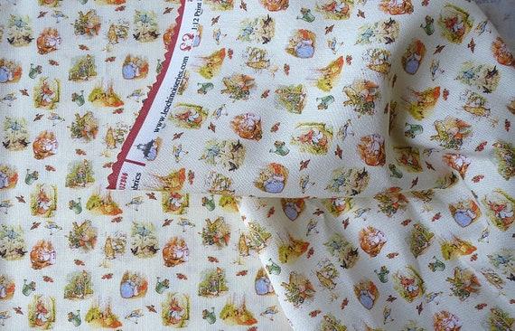 Dollhouse Miniature Fabric, Peter Rabbit Toile, 1:12 Scale