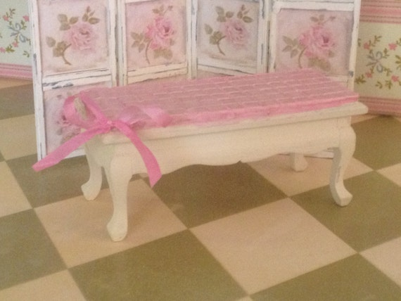 Dollhouse Miniature Romantic Shabby Chic Coffee Table, 1:12 Scale, OOAK