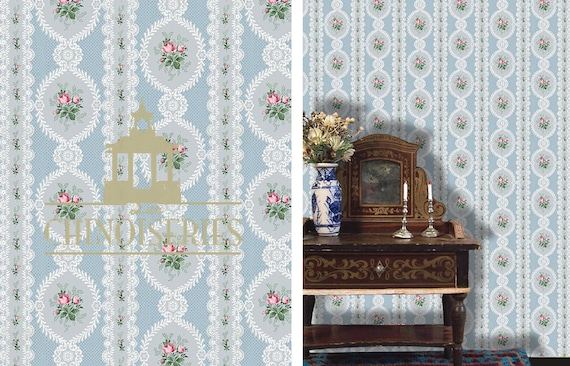 Dollhouse Miniature Wallpaper, Francois, Scale One Inch