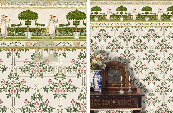 Dollhouse Miniature Wallpaper, The Secret Garden, Scale One Inch