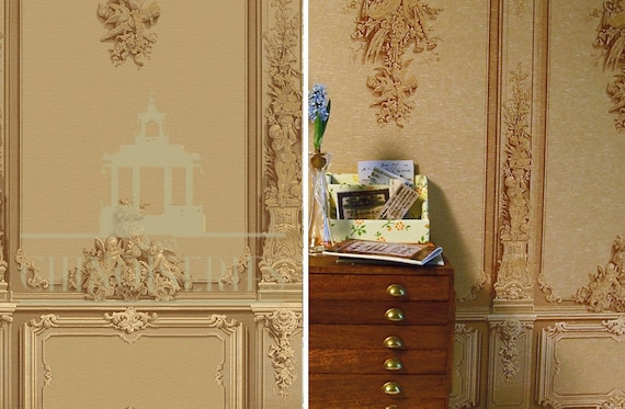 Dollhouse Miniature Wallpaper, Wagner, Scale One Inch