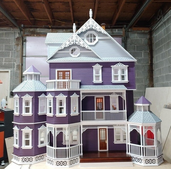 Dollhouse Miniature Wooden Dollhouse Kit, Amethyst, Scale One Inch