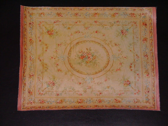 Dollhouse Miniature Room Size Vintage Floral Aubusson Rug, Scale One Inch