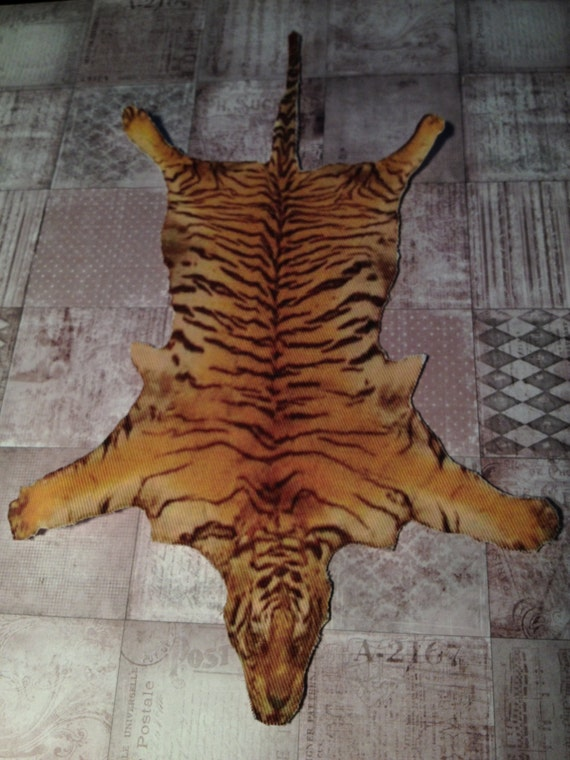 Dollhouse Miniature Bengal Tiger Skin Rug, One Inch Scale