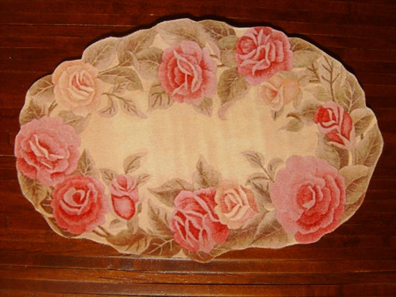 Dollhouse Miniatures Romantic Rose Rug, Treasury List, Scale One Inch