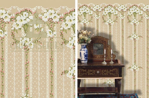 Dollhouse Miniature Wallpaper, Wallflower, Scale One Inch