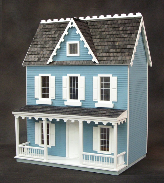 Scale One Inch, Emily, A Vermont Farmhouse Wooden Dollhouse Kit, 1:12