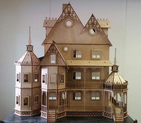 Scale Half Inch, Abigail, A Victorian Wooden Dollhouse Kit, 1:24 Scale, SHIPS WORLDWIDE