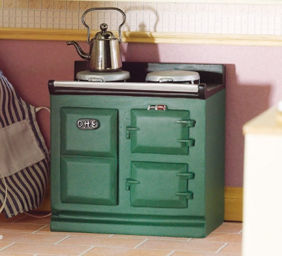 Dollhouse Miniature Vintage Green Stove, 1:12 scale