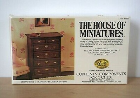 Dollhouse Miniature Furniture Kit, House of Miniatures, Chippendale Chest, 1:12 Scale