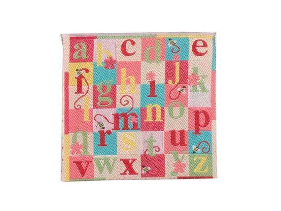 Dollhouse Miniature Nursery, Pink ABC Rug, 1:12 scale