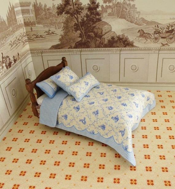 Dollhouse Miniature Single Bedding KIT, Beatrix Toile, 1:12 scale