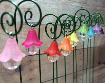 Fairy garden lantern miniature garden accessory set of 3 hanging lantern flower style with shepherds hook