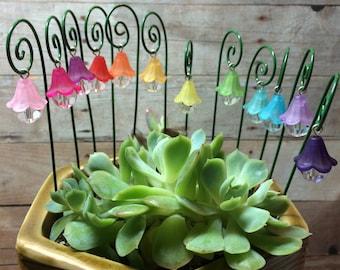 12 Fairy garden lantern miniature garden accessory rainbow 1 inch lantern 6 inch shepherds hook