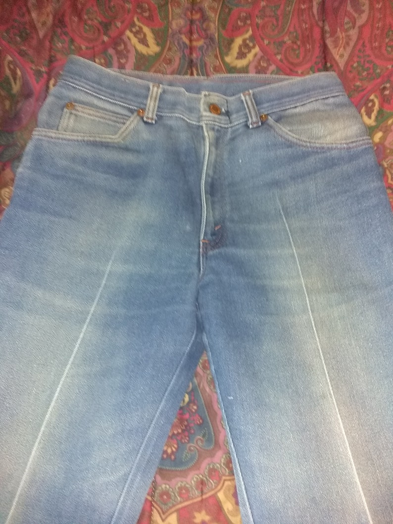 Long Haul 31 X 30 Heavy Denim Jeans Bellbottoms Bell Bottoms Scovil Zipper Flare Trucker Pants Rare Poly Cotton 60s 70s Bootcut Leather Tag