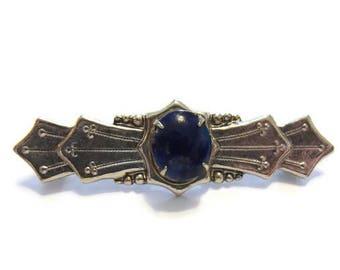 Vintage Silver Lapis Brooch