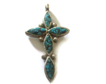 Vintage Navajo Sterling Turquoise Cross Signed