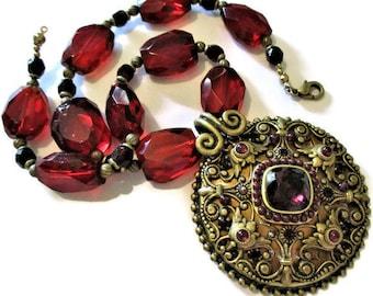 Vintage Designer Bronze Garnet Glass Necklace 14.5 inches Michal Golan