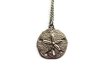 Vintage Sterling Sand Dollar Pendant 16 inch necklace