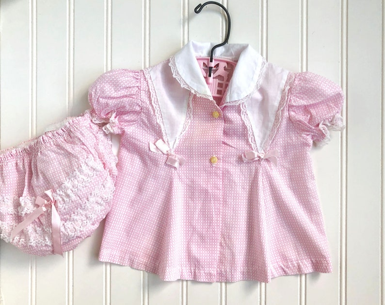 5 piece hand crafted pink /& white dress set ~ doll clothes for reborn doll NB