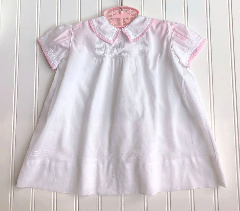 Vintage Toddler Girls Dress White Work Cotton Pink Trimmed size 2T Hand Made 1930s in Cleveland Ohio