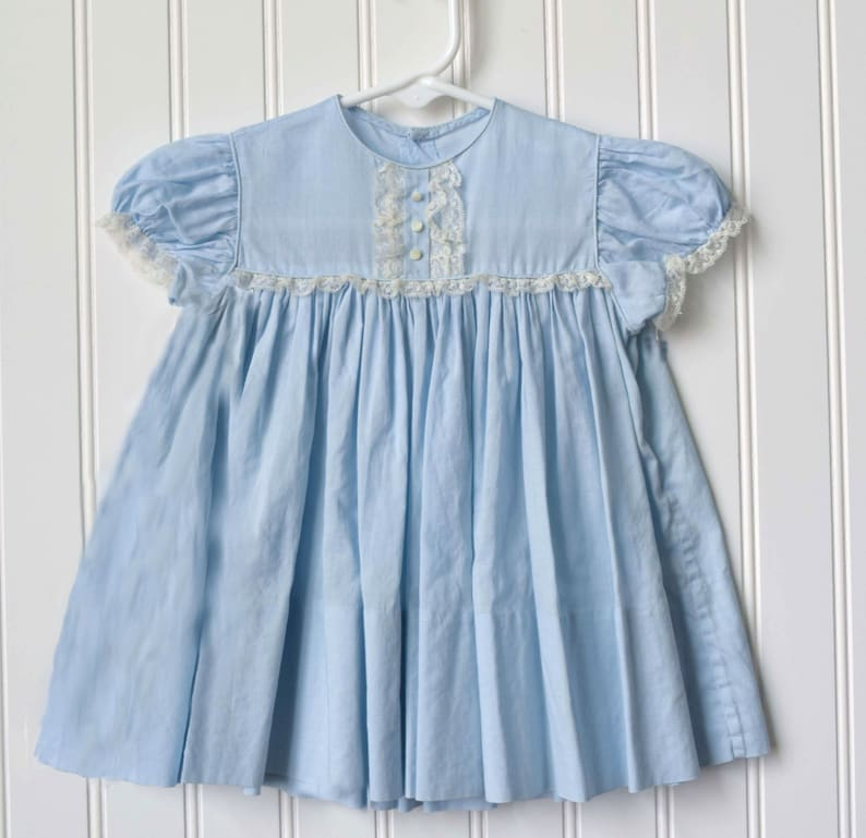 5ce2c7b4fe Vintage Girls Blue Dress Pure Cotton Princess Style Handmade