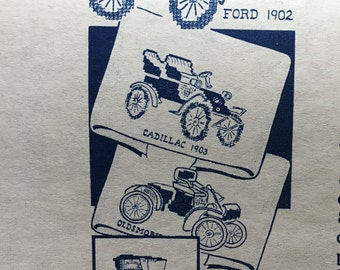 Alice Brooks 7261 Transfer Designs Old Fashioned Car Motifs VINTAGE
