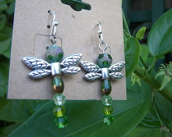 Green Dragonfly Earrings and Charm