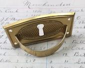 Vintage brass escutcheon plate - keyhole - antique brass charm - keyhole pendant - key hole plate - vintage hardware - keyhole necklace