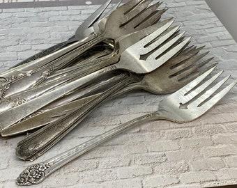 Vintage Forks English Fiddle Fork Food Props Food Prop F monogram Vintage Fork Boho Living Bohemian Style Silver Plated Forks