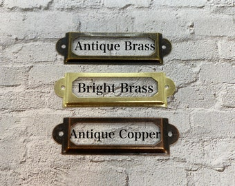 """LABEL HOLDER ~ Nickel Plated ~ Library Style Pull Handle { 3 1//4/"""" lg } ~ by  PLD"""