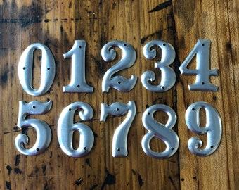 "Vintage address numbers - 1.5"" small metal number - sign number - industrial metal- small number charm telephone pole number - number set"