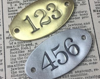 Superb Hand Punched Brass Or Aluminum Numbered Tags   Custom Numbered Locker Tags    Oval Year Date