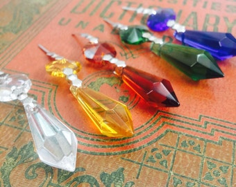Antique style assorted color crystal pendant lot of 5 - multi facet vintage style cut glass - necklace charm - jewelry finding - supply