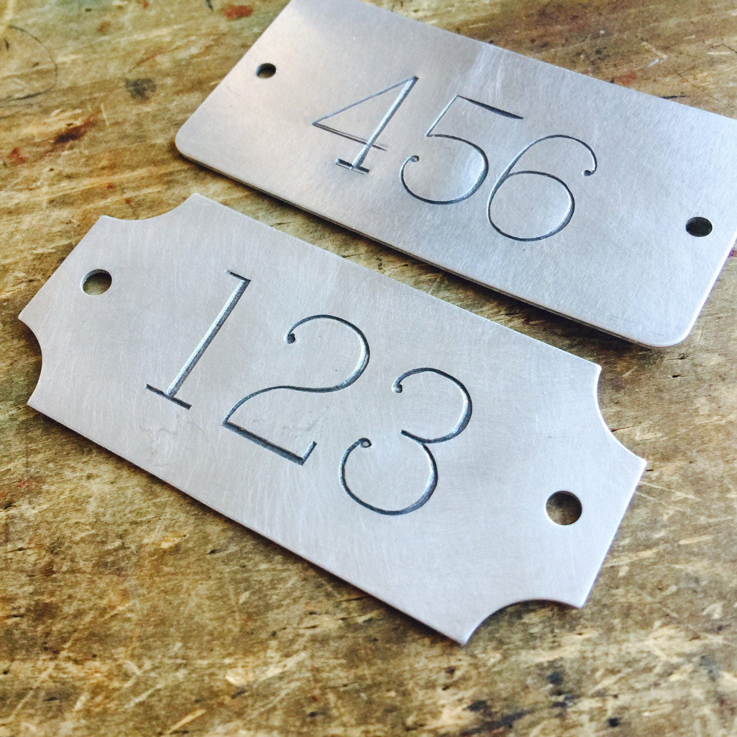 Hand Punched Aluminum Id Numbered Tags Industrial Custom Etsy