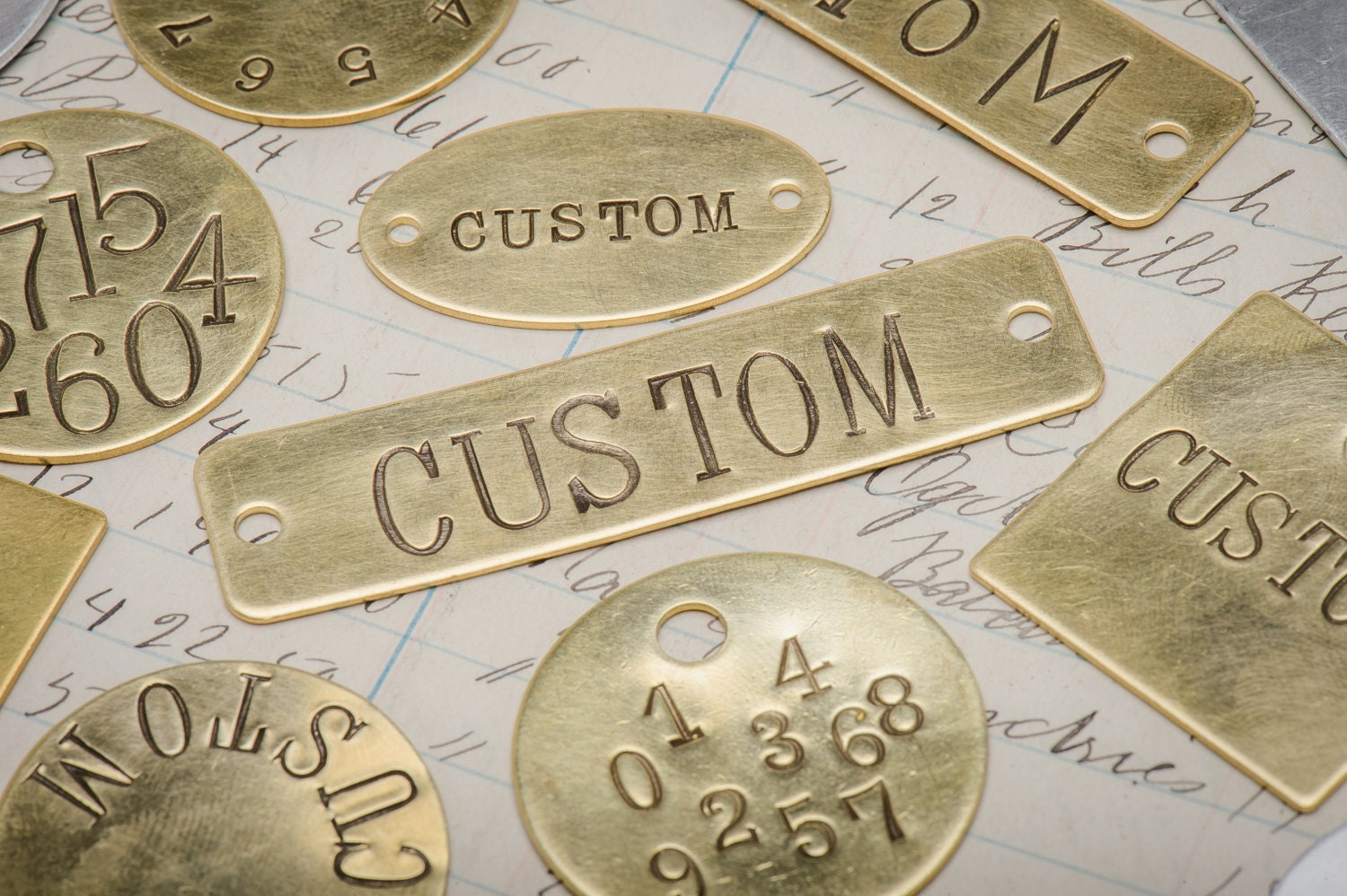 Custom hand punched brass and metal tag hand stamped key tag  5fcd07000