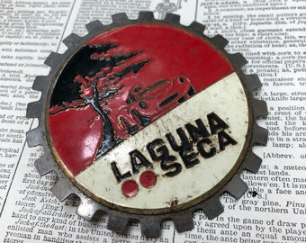 Vintage laguna seca race track grill badge - hood ornament - Classic race car auto emblem - vintage metal car badge -