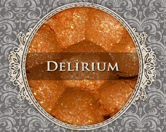 DELIRIUM Sparkle Eyeshadow: Samples or Jars, Bright Tangerine Orange w/Gold Sparkle, Loose Eyeshadow, Vegan Cosmetics, Ships Out in 5-8 Days