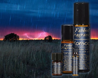 MONSOON Perfume Oil with Rain, Lemon Citronella, Fresh Grass, Heliotrope, Ocean, Oakmoss, Sandalwood, Petrichore Perfume, TAT 5-8 Days