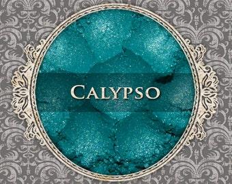 CALYPSO Shimmer Eyeshadow: Samples or Jars, Bright Teal Green, Loose Powder Eyeshadow, Vegan Cosmetics, Ships Out in 5-8 Days