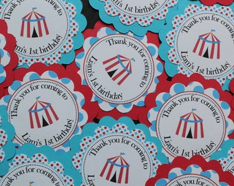 Circus or Carnival birthday favor tags