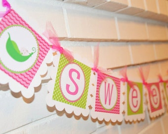 Sweet Pea banner, Baby Shower banner in pink and green, banner, birthday banner