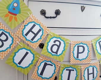 Spaceship party banner, Rocket Ship party, Astronaut banner, Spaceship banner, Rocket Ship banner, Astronaut party, Happy Birthday