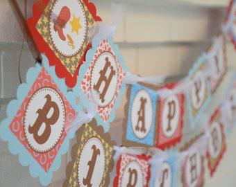 Cowboy banner, Cowboy party, Western Birthday banner, Rodeo Banner, birthday banner, red blue brown