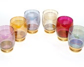 Retro Harlequin Coloured Alcohol Glasses Gold Gilt Set of Six Mad Men 1950s