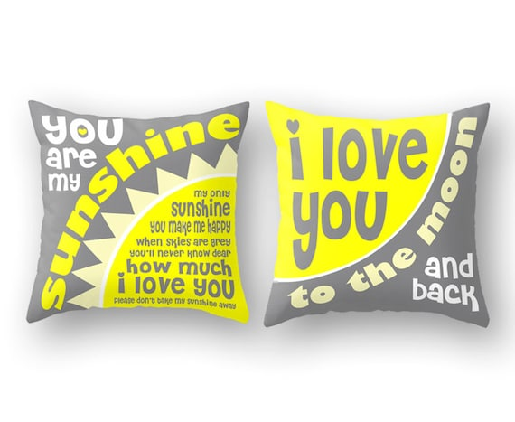 You are My Sunshine Song Lyrics or I Love You to the Moon Throw Pillow -  Nursery Baby Children Home Decor Newborn Baptism Gift