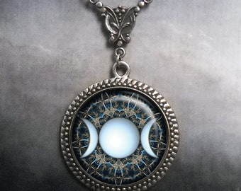 Triple Moon Goddess necklace, goddess jewelry gift for her symbolic jewelry Goddess gift Wiccan Moon Goddess jewelry L242