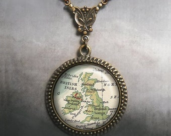 Great Britain map necklace England map jewelry map jewellery travel gift Art Nouveau British Isles map necklace