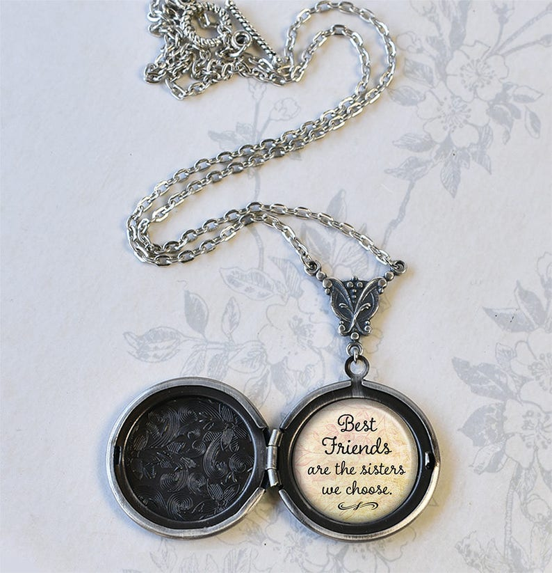 Best Friends are the Sisters we choose photo locket, bff gift best friends  gift bridesmaid gift for best friend quote jewelry vintage locket