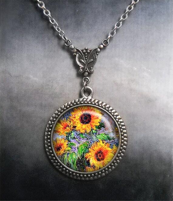Lovely Sun Flowers art cabochon verre argent Tile Chaîne Collier Pendentif Bijoux